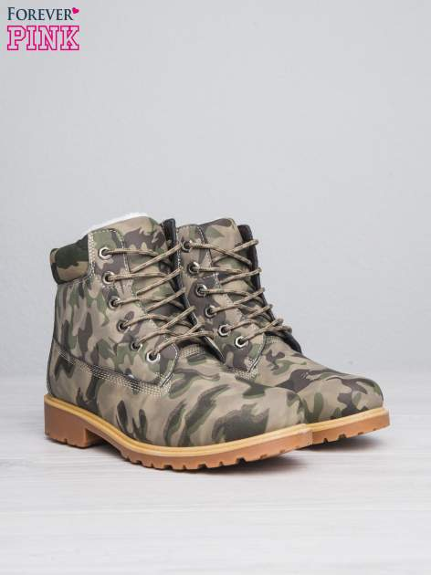 Zielone buty trekkingowe damskie moro traperki ocieplane                                  zdj.                                  3