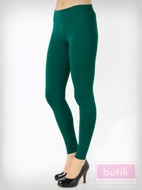 Zielone gładkie legginsy bawełniane                                  zdj.                                  2