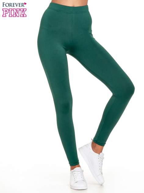 Zielone legginsy basic z lekkim ociepleniem