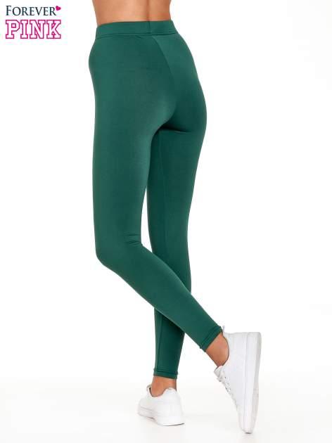 Zielone legginsy basic z lekkim ociepleniem                                  zdj.                                  4