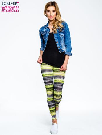 Zielone legginsy two tone w etniczny wzór                                  zdj.                                  5