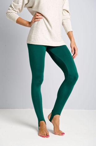 Zielone legginsy zakładane na stopę