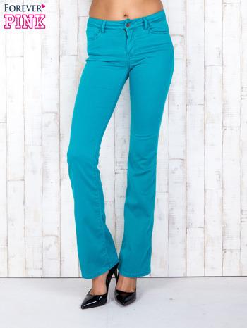 Zielone materiałowe spodnie dzwony                                  zdj.                                  1