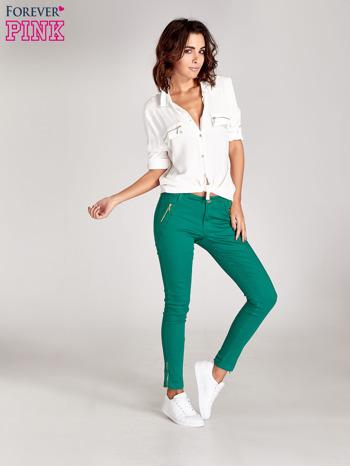 Zielone spodnie ze złotymi suwakami                                  zdj.                                  2