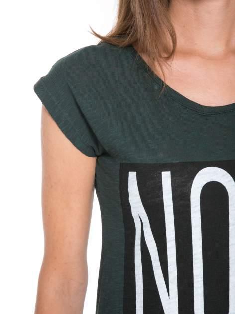 Zielone t-shirt z nadrukiem NOPE                                  zdj.                                  6