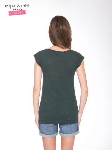 Zielone t-shirt z nadrukiem NOPE                                  zdj.                                  3