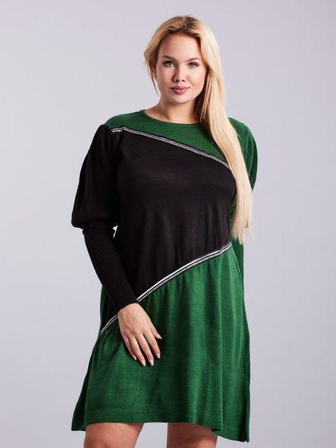 Zielono-czarna sukienka dzianinowa PLUS SIZE                              zdj.                              1