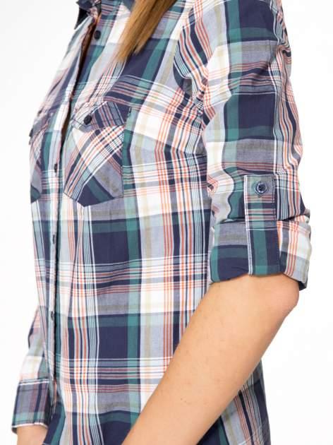 Zielono-granatowa koszula w kratę z kieszeniami                                  zdj.                                  11
