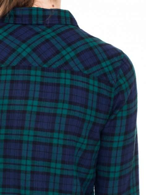 Zielono-granatowa koszula w kratę z kieszonkami                                  zdj.                                  8