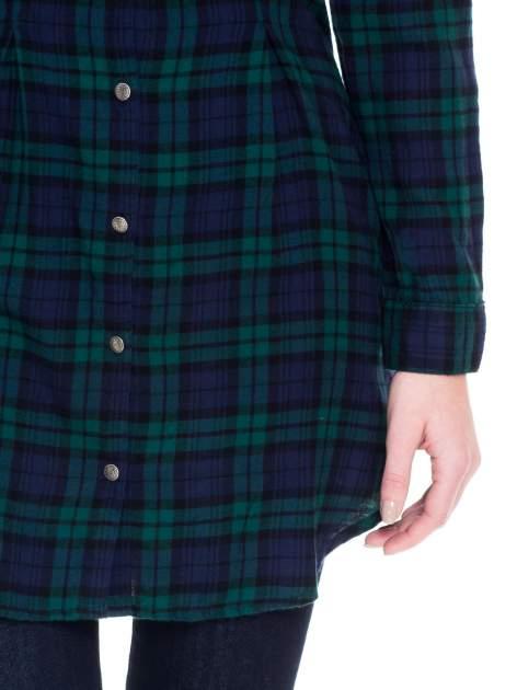 Zielono-granatowa koszulotunika w kratę                                  zdj.                                  6