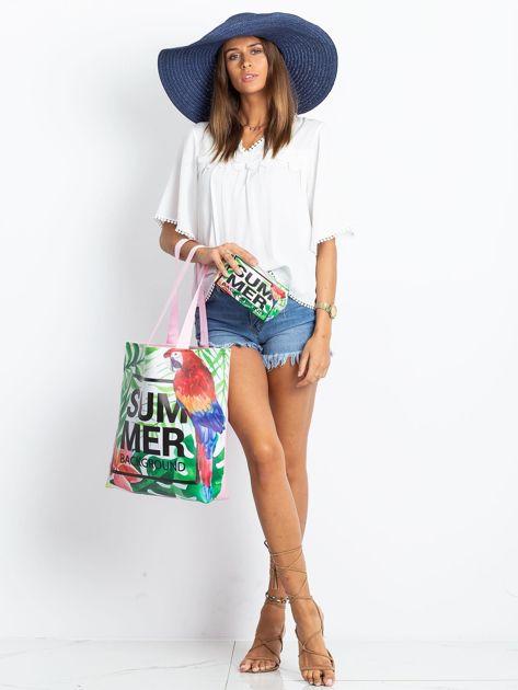 Zielono-różowa torba z egzotycznym nadrukiem                              zdj.                              8