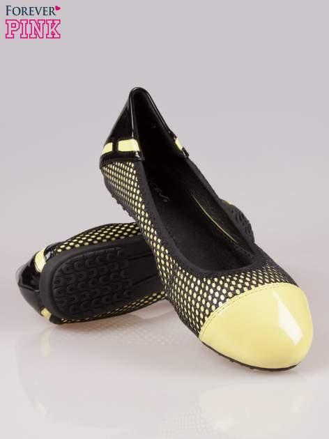 Zielonożółte siateczkowe baleriny faux leather Selena na gumkę                                  zdj.                                  4