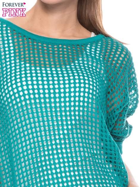 Zielony ażurowy sweter oversize                                  zdj.                                  5