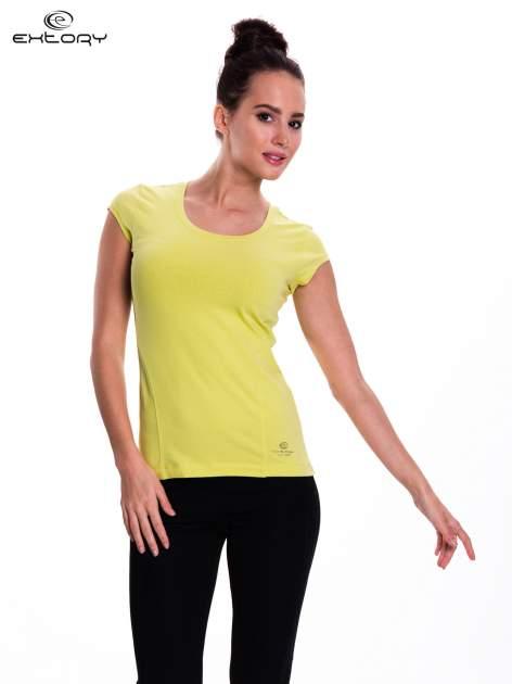 Zielony damski t-shirt sportowy basic                                  zdj.                                  1