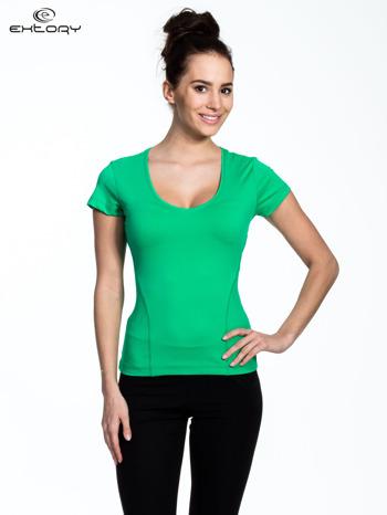 Zielony damski t-shirt sportowy z dekoltem U