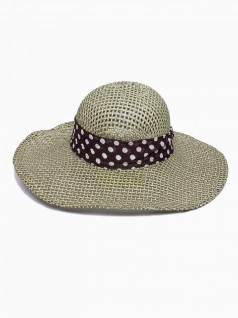 Zielony kapelusz słomiany z dużym rondem i apaszką w grochy                                  zdj.                                  5