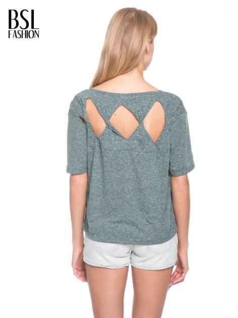 Zielony melanżowy t-shirt o luźnym kroju                                  zdj.                                  5