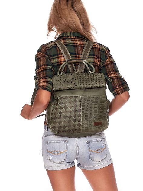 Zielony plecak damski z eko skóry z plecionką i ażurowaniem                              zdj.                              1