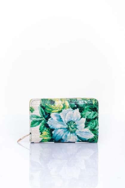 Zielony portfel z kwiatowym nadrukiem                                  zdj.                                  1