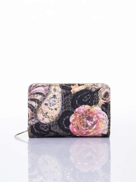 Zielony portfel z kwiatowymi motywami                                  zdj.                                  1
