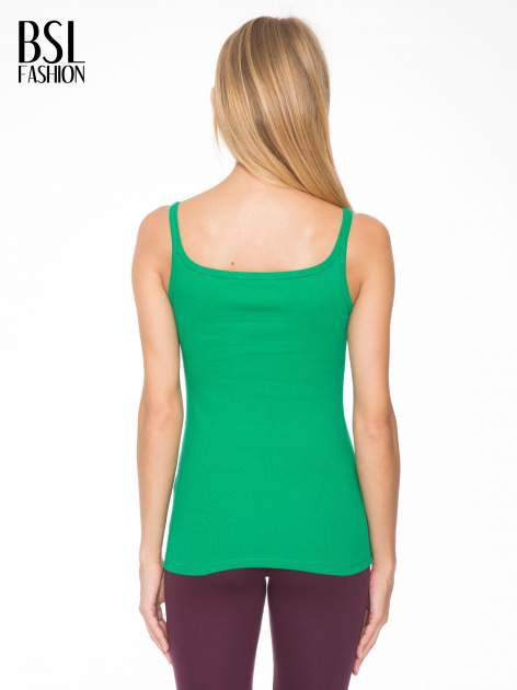 Zielony prążkowany top na cienkich ramiączkach                                  zdj.                                  4