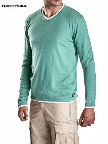 Zielony sweter męski w serek Funk n Soul                                  zdj.                                  5