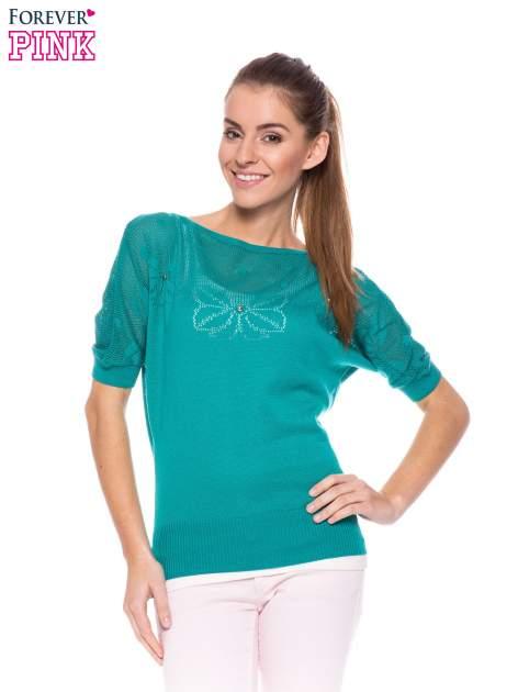 Zielony sweter z ażurową górą i krótkim rękawkiem                                  zdj.                                  1