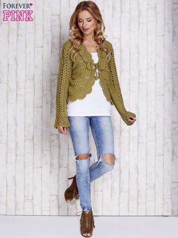 Zielony sweter z wiązaniem                                  zdj.                                  4