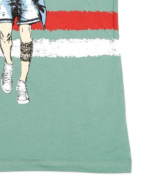 Zielony t-shirt dla chłopca z nadrukiem                              zdj.                              9