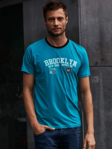 Zielony t-shirt męski z napisami BROOKLYN NEW YORK SPIRIT 86                                  zdj.                                  1