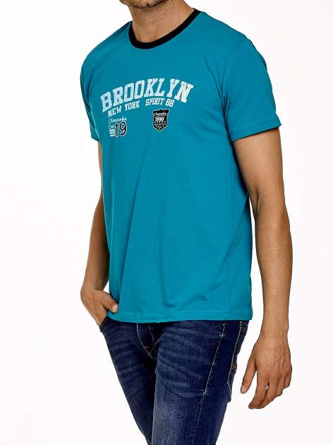 Zielony t-shirt męski z napisami BROOKLYN NEW YORK SPIRIT 86                                  zdj.                                  4