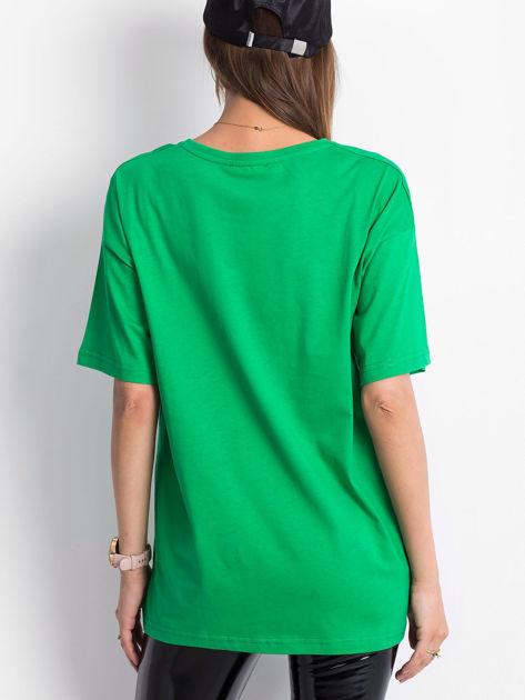 Zielony t-shirt o kroju oversize                              zdj.                              2