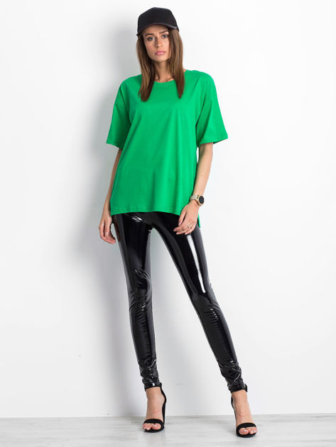Zielony t-shirt o kroju oversize                              zdj.                              4
