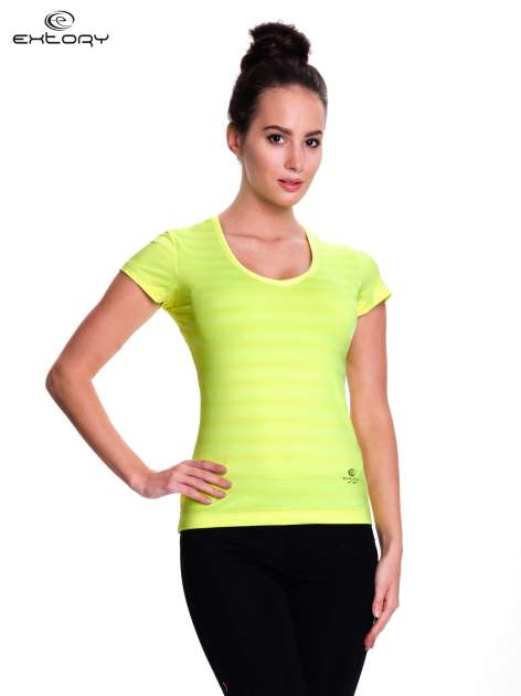 Zielony t-shirt sportowy w paseczki                                  zdj.                                  1