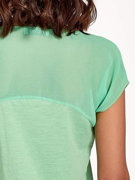 Zielony t-shirt z górą mgiełką                                  zdj.                                  7