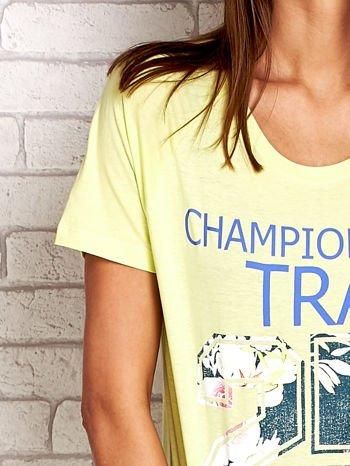Zielony t-shirt z kwiatowym numerem 25                                  zdj.                                  5