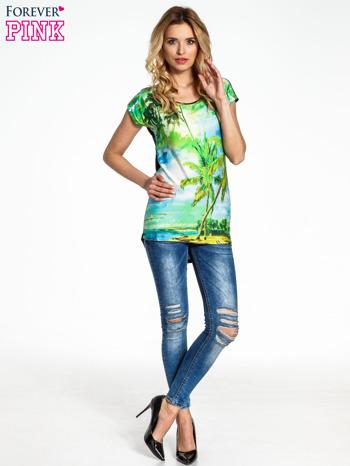 Zielony t-shirt z motywem egzotycznym                                  zdj.                                  6