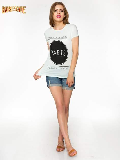Zielony t-shirt z nadrukiem PARIS                                  zdj.                                  1