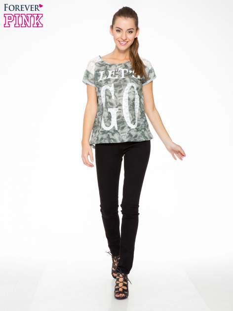 Zielony t-shirt z napisem LET'S GO i koronkowymi wstawkami                                  zdj.                                  5