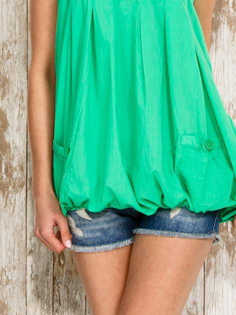 Zielony top damski na ramiączkach z guzikami                                  zdj.                                  6