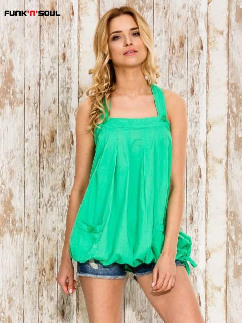 Zielony top damski na ramiączkach z guzikami                                  zdj.                                  1