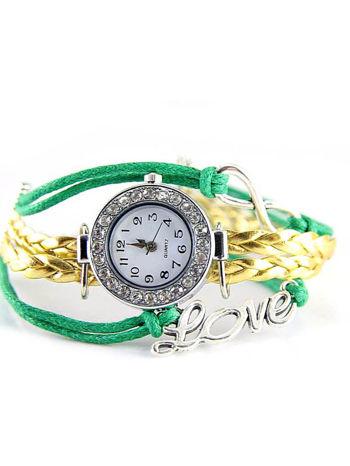 Zielony zegarek damski na skórzanym , plecionym sznurku                                  zdj.                                  1