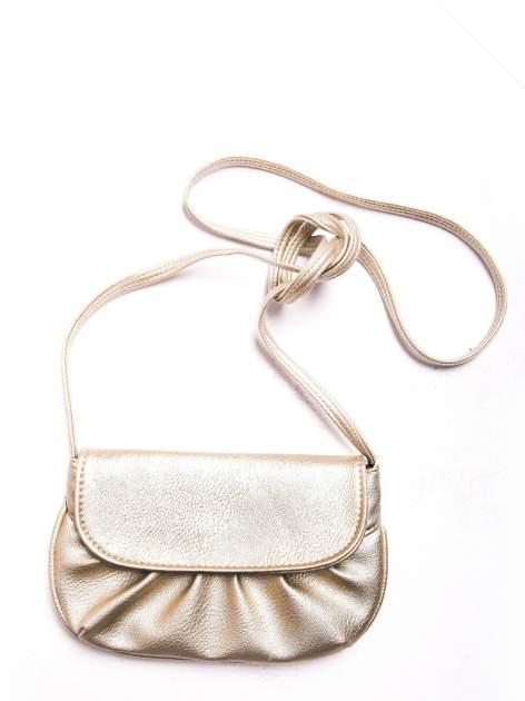 Złota mini torebka kopertówka z paskiem                                  zdj.                                  3