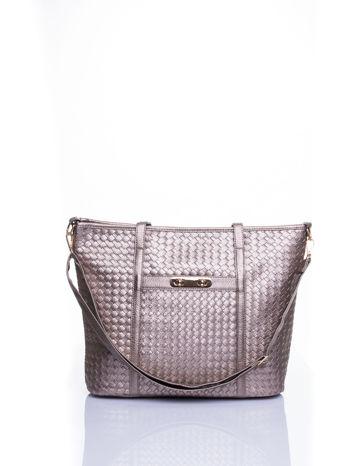Złota pleciona torba shopper bag ze złotym detalem                                  zdj.                                  1