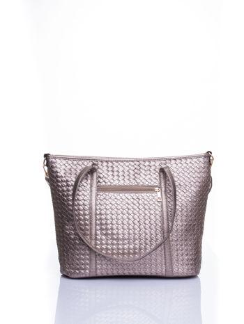 Złota pleciona torba shopper bag ze złotym detalem                                  zdj.                                  3