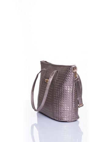 Złota pleciona torba shopper bag ze złotym detalem                                  zdj.                                  4