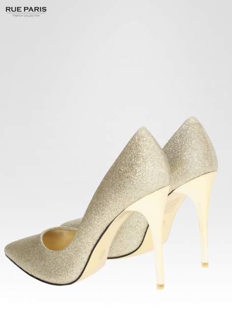 Złote brokatowe szpilki w szpic na złotym obcasie                                  zdj.                                  5