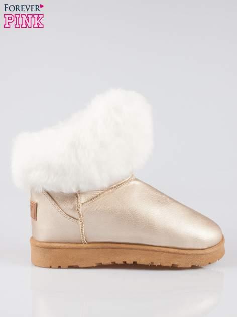 Złote krótkie śniegowce damskie z kożuszkiem                                  zdj.                                  1