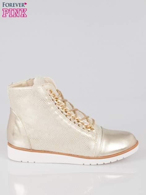 Złote metaliczne sneakersy z łańcuchami                                  zdj.                                  1