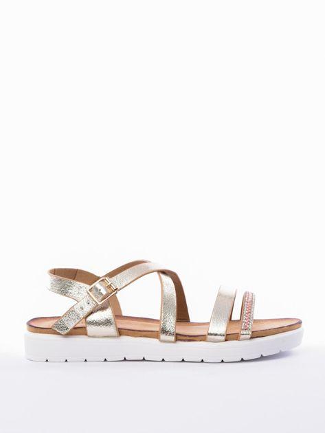 Złote sandały SABATINA z biżuteryjnym paskiem                              zdj.                              1